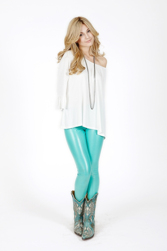 2tee Couture Faux-leather mint Leggings